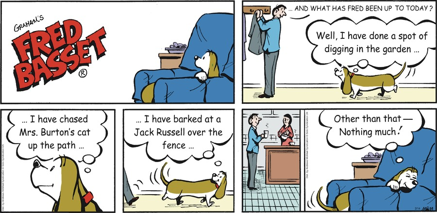Fred Basset Comic Strip for February 14, 2021