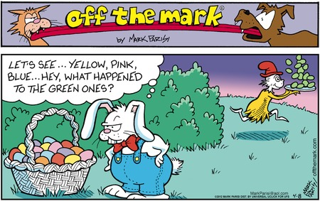 Bunny:  Let's see...yellow, pink, blue...hey, what happened to the green ones?
