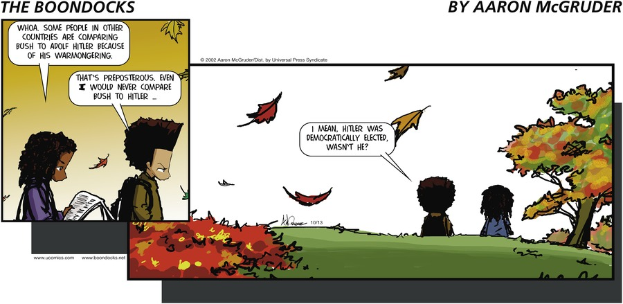 The Boondocks for Oct 13, 2002 Comic Strip