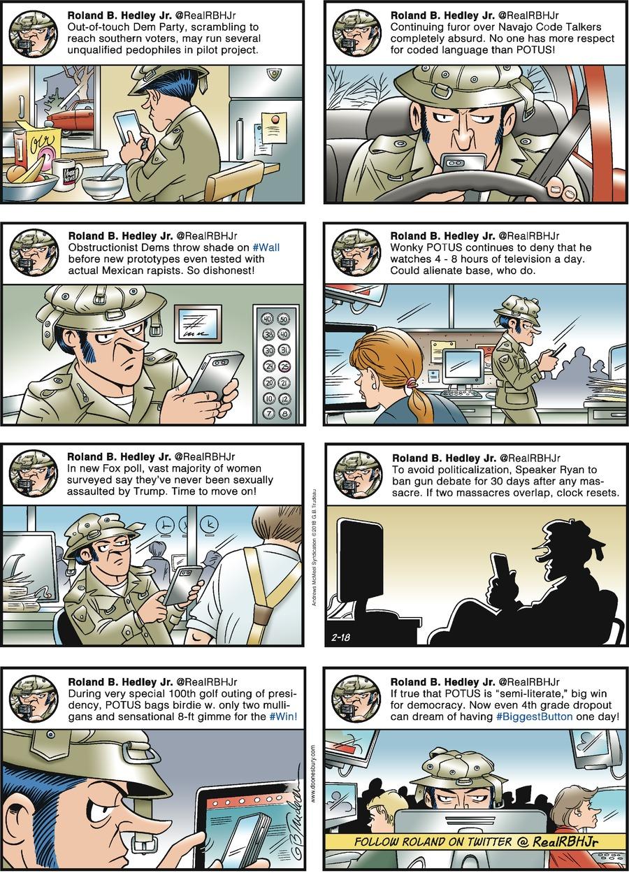 Doonesbury Comic Strip for February 18, 2018