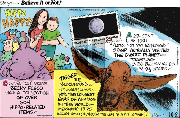 Ripley's Believe It or Not on Sunday October 2, 2016 Comic Strip