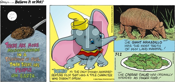 Ripley's Believe It or Not on Sunday July 12, 2020 Comic Strip