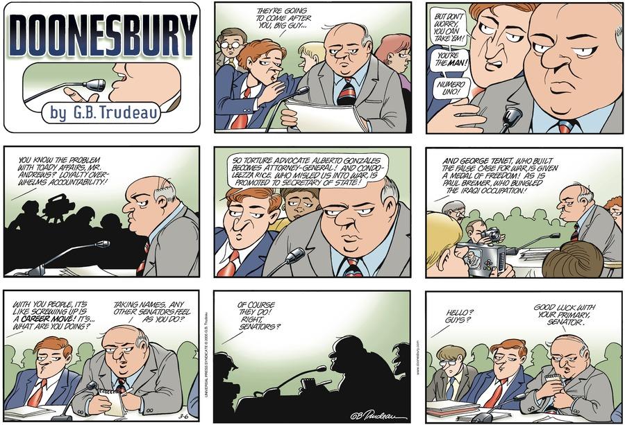 Doonesbury Comic Strip for March 06, 2005