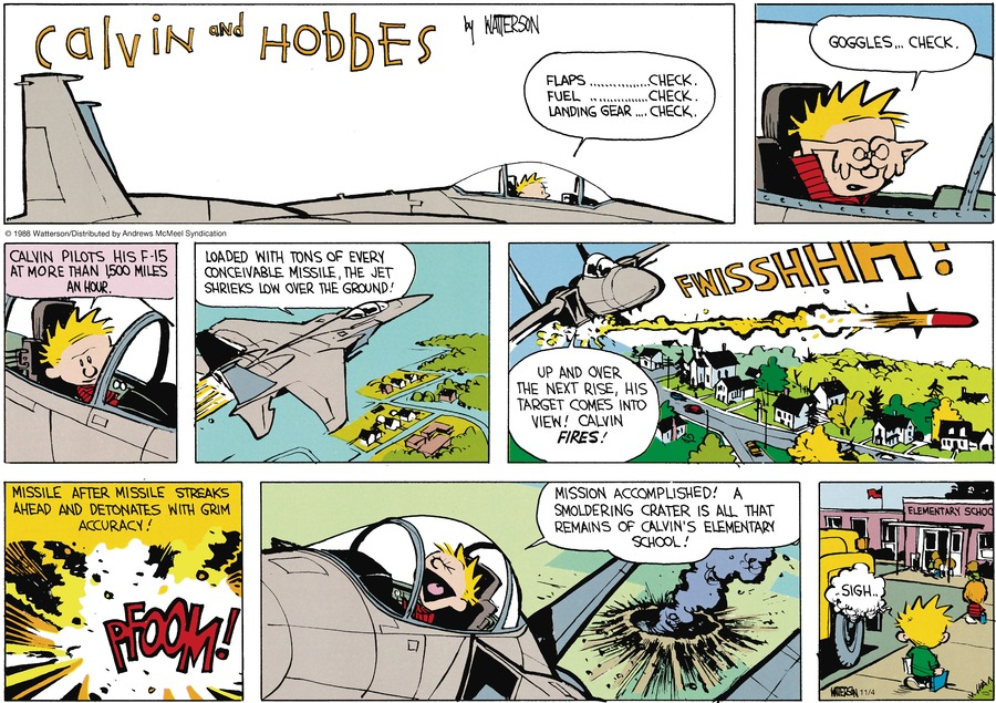 Calvin and Hobbes by Bill Watterson for November 04, 2018