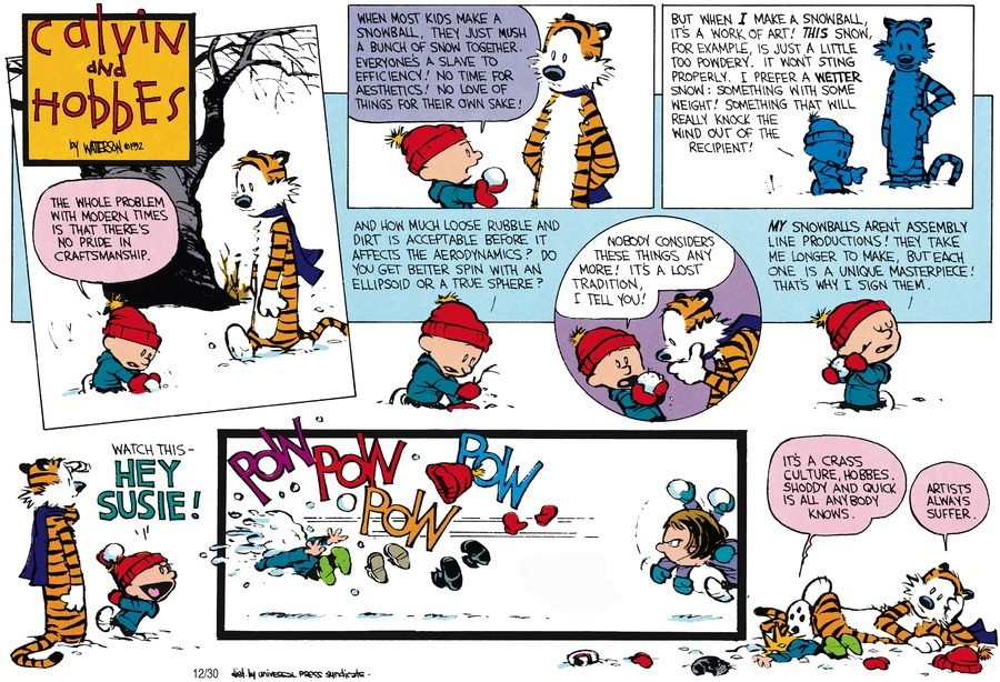 Calvin and Hobbes Comic Strip for February 16, 1992