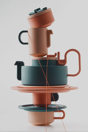 British designer Bethan Laura Wood nodded to details in Rosenthal's classic TAC tea set by Bauhaus architect Walter Gropius, where the lid top and handle come together to create a single flowing curve, in her playful Tongue collection for Rosenthal. Wood's design also references other elements throughout the brand's history, from the wiggles of Eduardo Paolozzi, to the hot pink flamingos that once took up residence in the center of the factory.