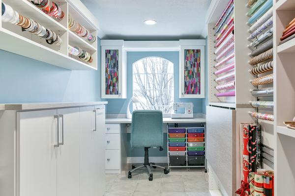 A gift-wrapping station can become part of a multifunctional space in a home office, laundry or craft room.