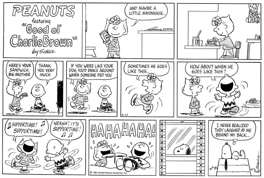 Peanuts Comic Strip for May 17, 1981