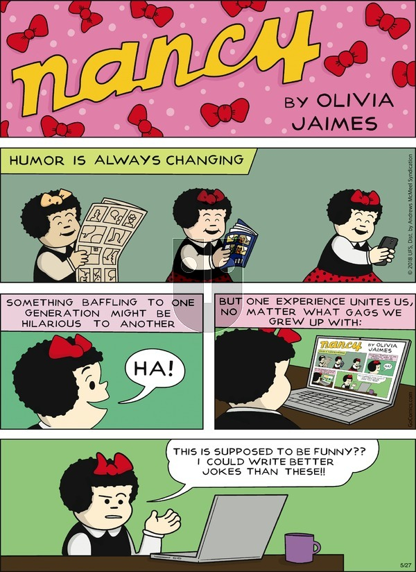 Nancy on Sunday May 27, 2018 Comic Strip