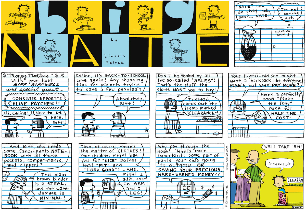 Big Nate Comic Strip for August 19, 2001