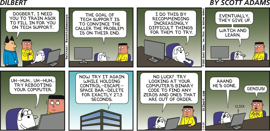 Dogbert Teaches Asok Tech Support - Dilbert by Scott Adams