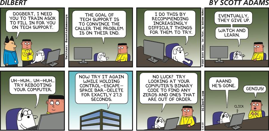 Dogbert Teaches Asok Tech Support - Dilbert by Scott Adams