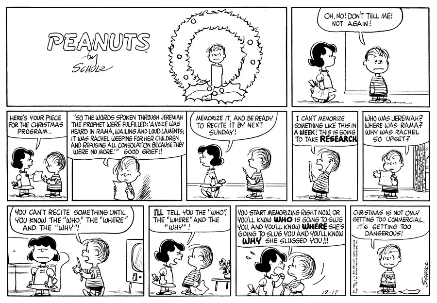 Peanuts Comic Strip for December 17, 1961