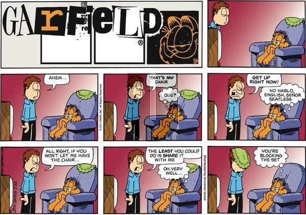 Garfield on Sunday February 20, 2011 Comic Strip