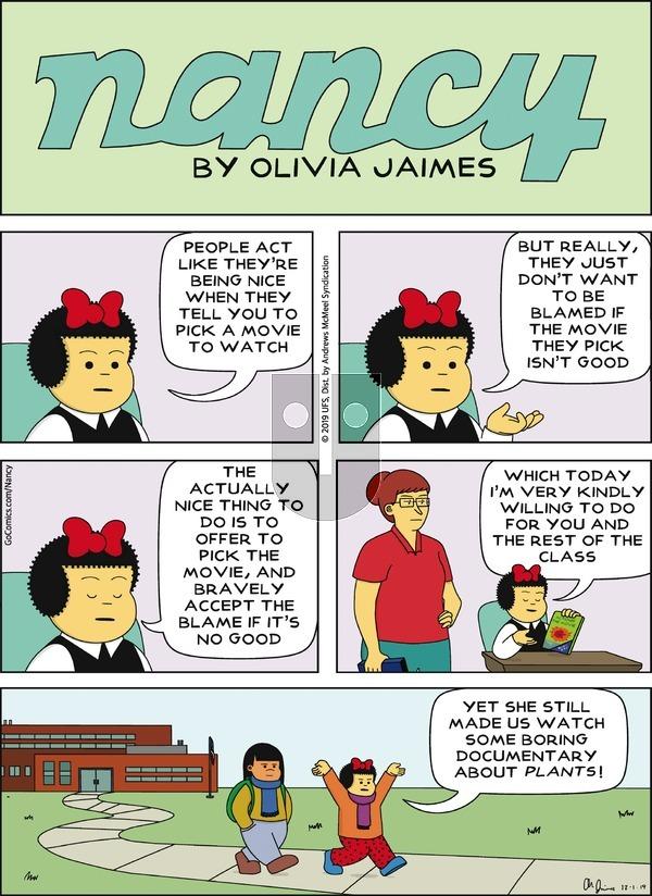 Nancy - Sunday December 1, 2019 Comic Strip