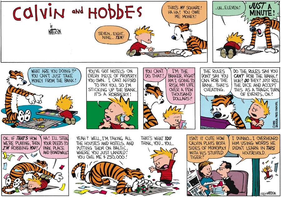 Calvin and Hobbes Comic Strip for January 24, 1988