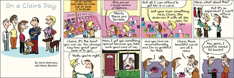 On A Claire Day for May 11, 2014 Comic Strip