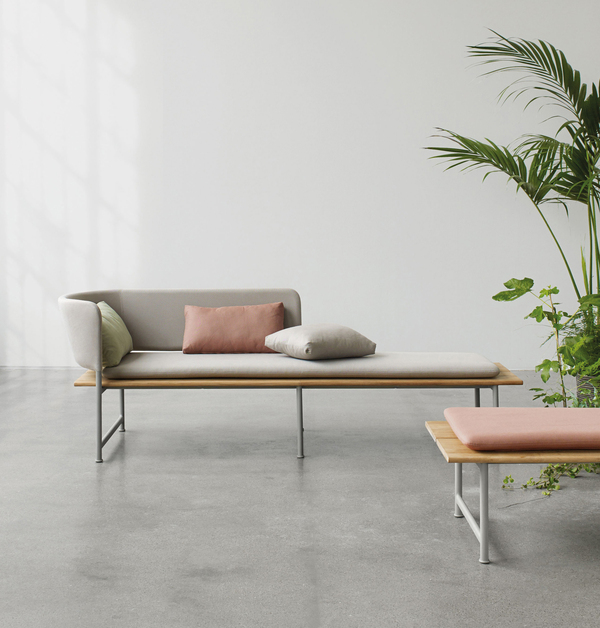 Cecilie Manz was celebrated in Paris this January as Maison et Objet's Designer of the Year. Her Scandinavian roots show with everything she tackles: Here, for Gloster, is part of the Atmosphere collection -- simple, minimal design in teak and powder-coated aluminum with upholstery in soft pastels.