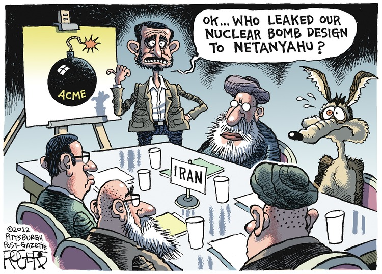 Mohamed Ahmadinejad: Ok... who leaked our nuclear bomb design to Netanyahu?