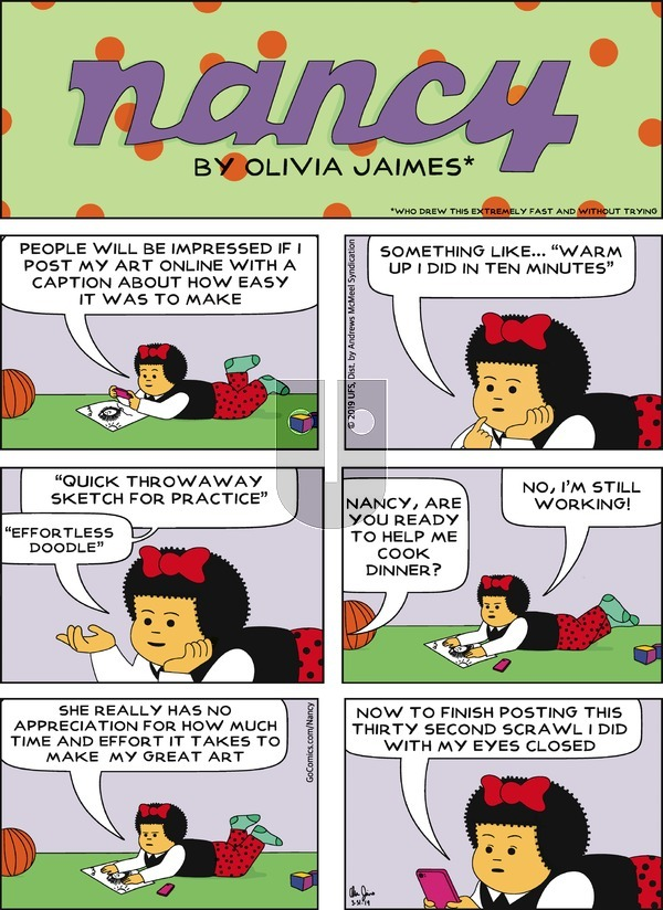 Nancy on Sunday March 31, 2019 Comic Strip