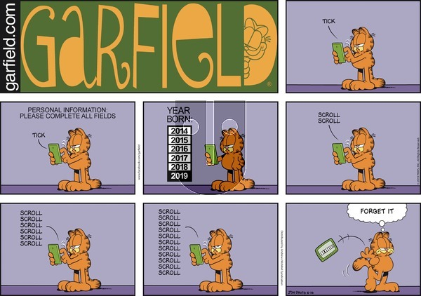 Garfield on Sunday June 16, 2019 Comic Strip