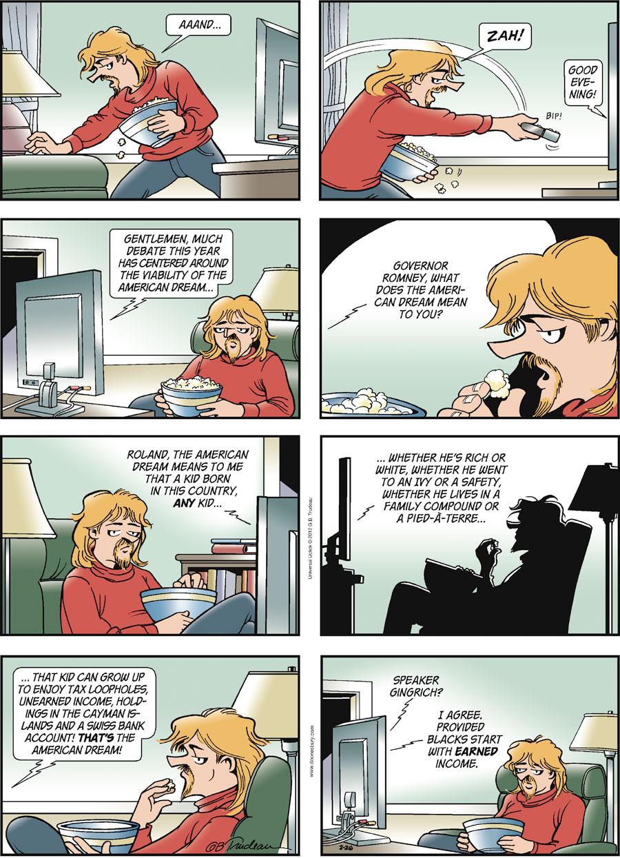 Doonesbury Comic Strip for February 26, 2012