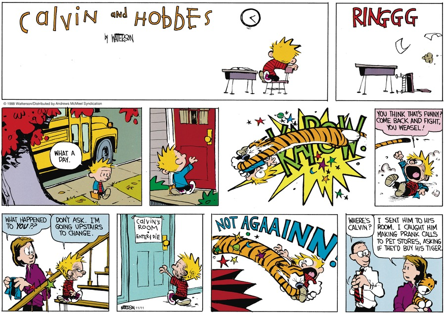 Calvin and Hobbes by Bill Watterson for November 11, 2018