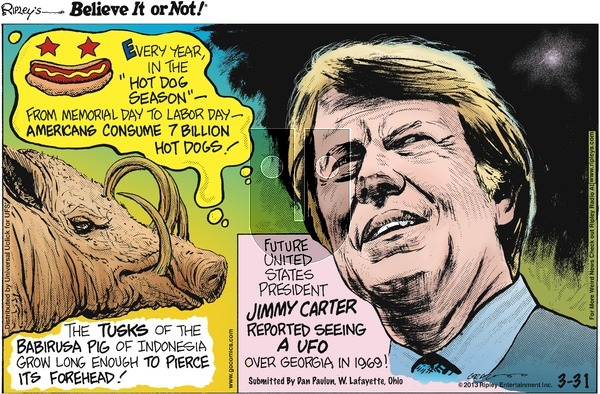 Ripley's Believe It or Not on Sunday March 31, 2013 Comic Strip