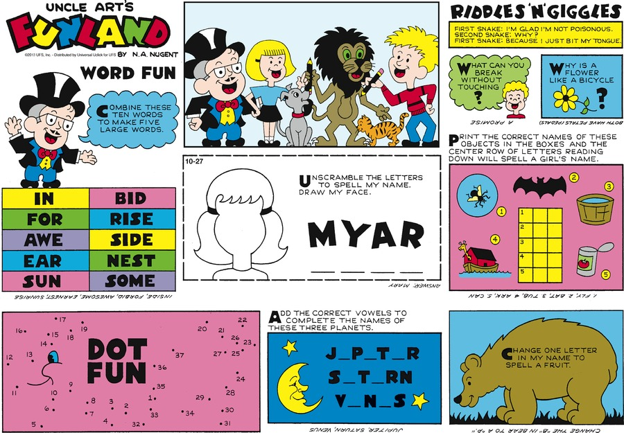 Uncle Art's Funland for Oct 27, 2013 Comic Strip