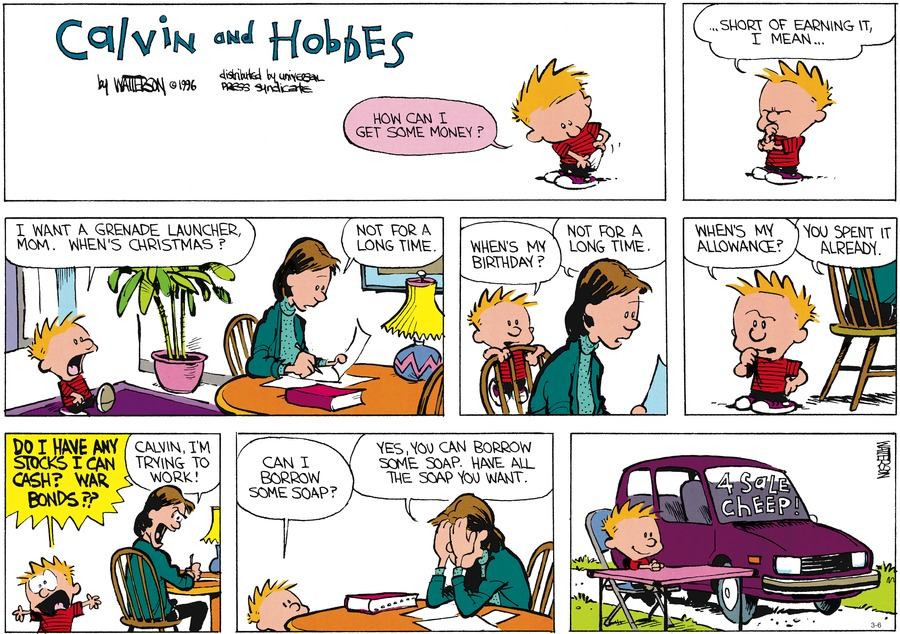 Calvin and Hobbes Comic Strip for March 06, 2016