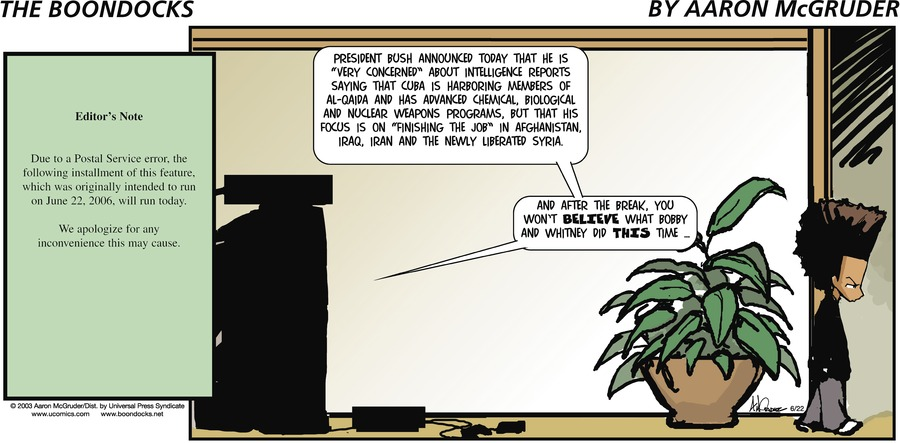 The Boondocks Comic Strip for June 22, 2003
