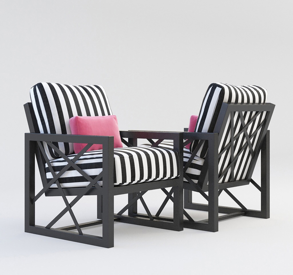 Designer Barclay Butera set out to capture a bit of Hollywood glam with this modern, custom, cast-aluminum design from his Palm Springs Collection for Castelle Luxury. The fret design inset into the sides of the softly angled frame, is asymmetrical; the askew linear design gives it an edge, as does the matte near black finish.
