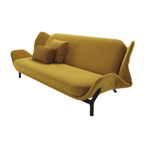 Clam, a modern sofa in mustard by Leo Dubreil and Baptiste Pilato for Ligne Roset shows off curves and does double duty as a chic sleeper. The bed-settee is easy to operate and designed to be viewed on all sides. The sleep area is generous, and those side curves create a stylish shape at both ends when open. Placed in the middle of a room, the piece is like an island for reading and resting.