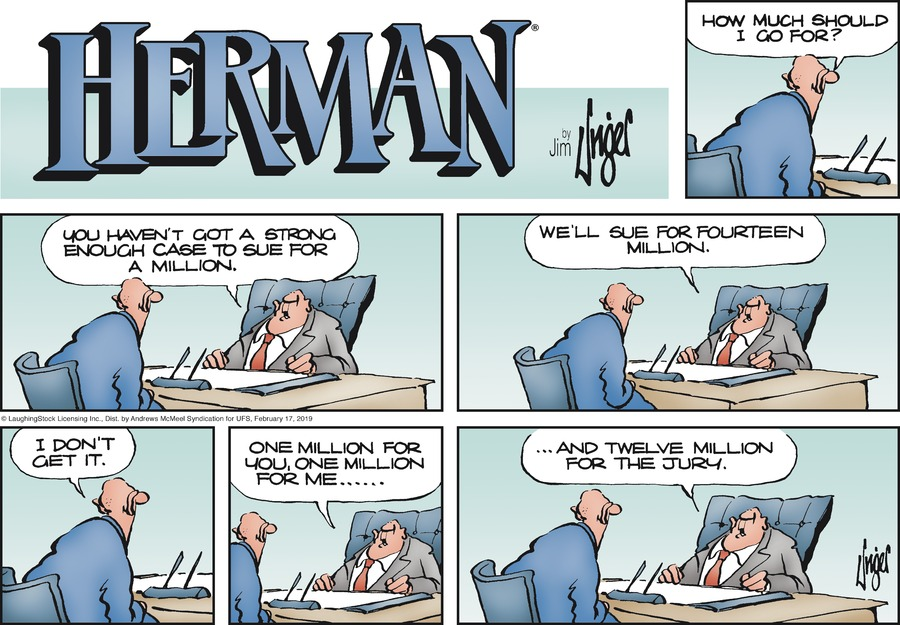 Herman Comic Strip for February 17, 2019