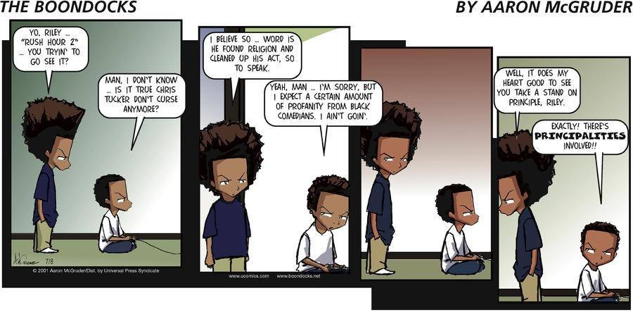 The Boondocks Comic Strip for July 08, 2001