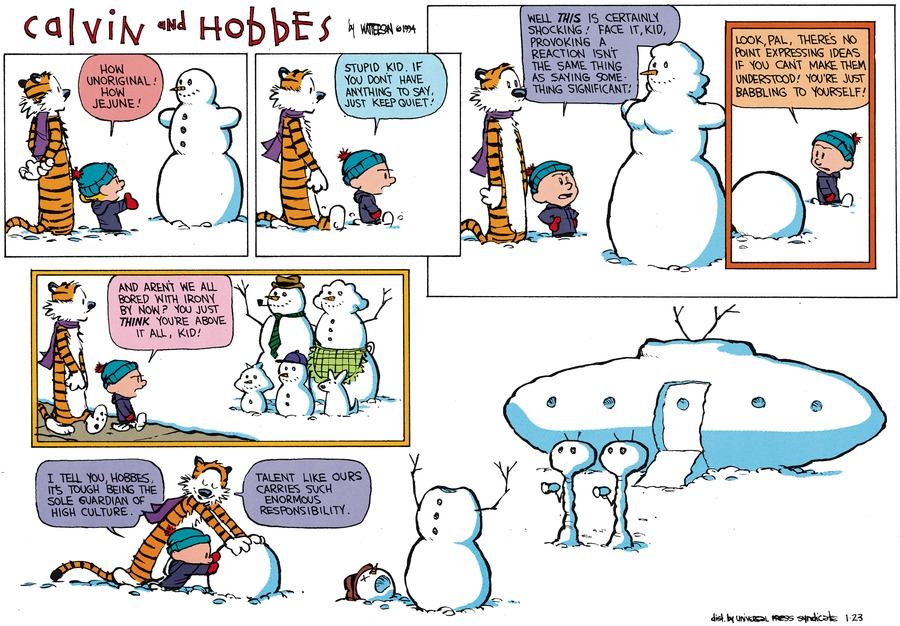 Calvin and Hobbes Comic Strip for January 23, 1994