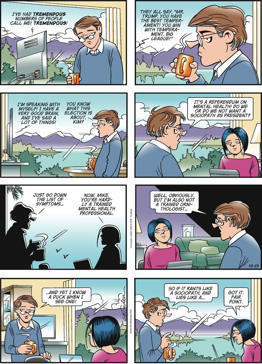 Doonesbury for Oct 23, 2016 Comic Strip