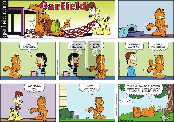Garfield on Sunday July 10, 2016 Comic Strip