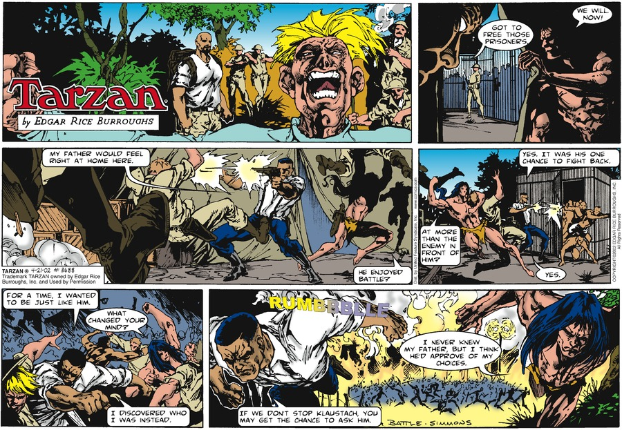 Tarzan Comic Strip for April 21, 2002