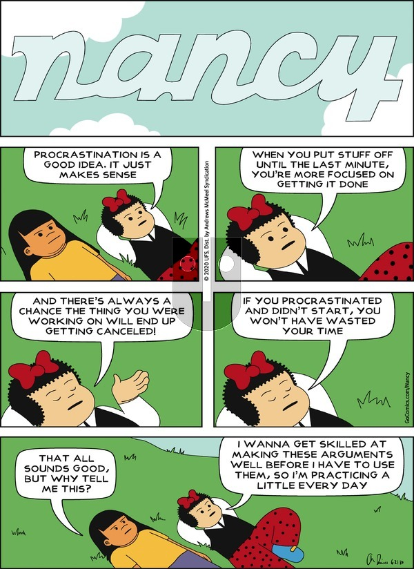 Nancy on Sunday June 21, 2020 Comic Strip