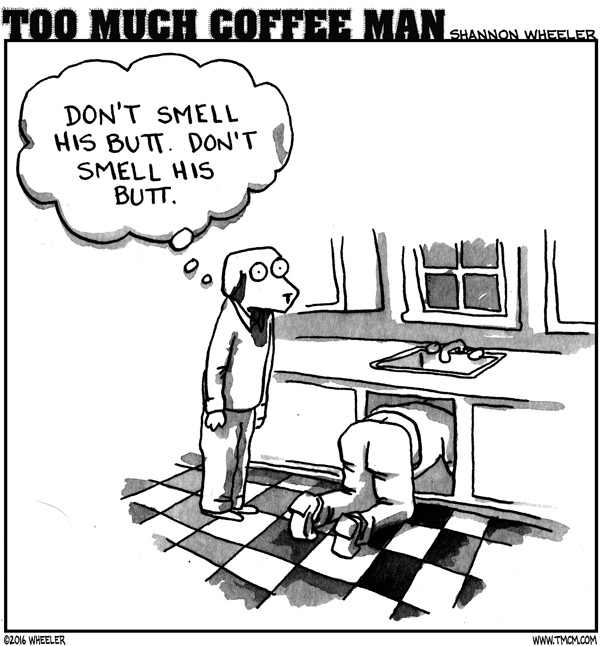 Too Much Coffee Man Comic Strip for August 03, 2016