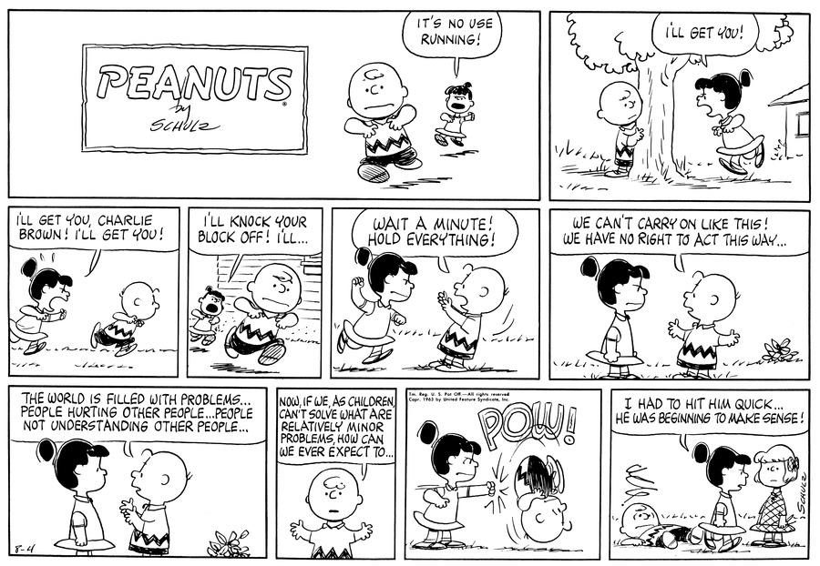 Peanuts Comic Strip for August 04, 1963