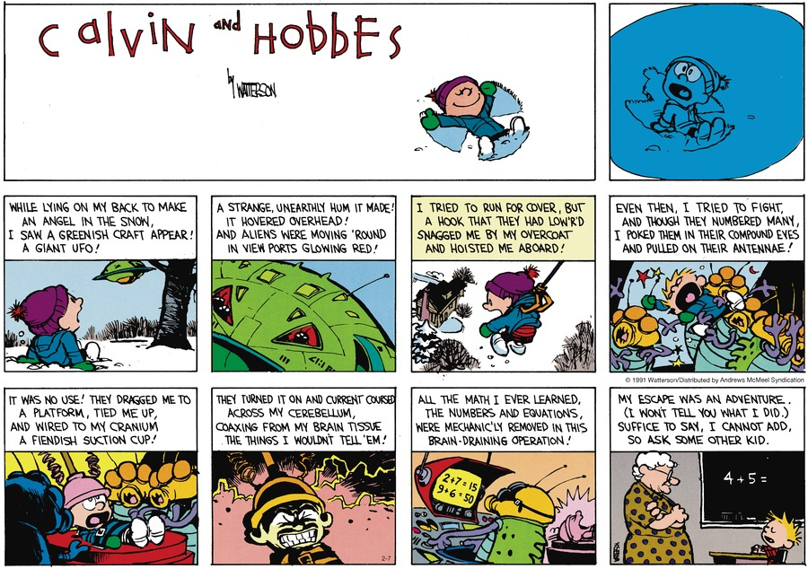 Calvin and Hobbes Comic Strip for February 07, 2021
