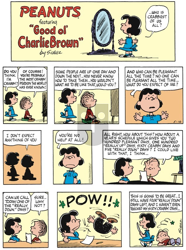 Peanuts on Sunday May 16, 2021 Comic Strip