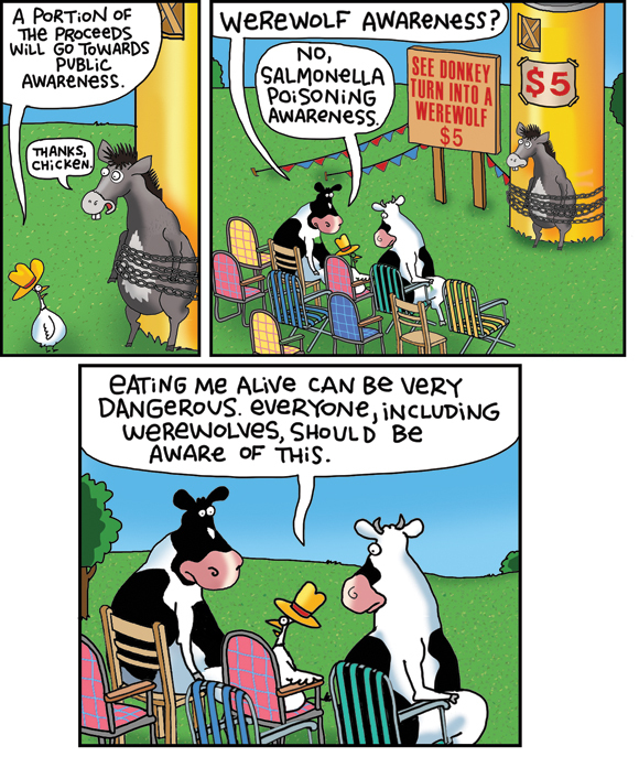2 Cows and a Chicken by Steve Skelton for Apr 18, 2018