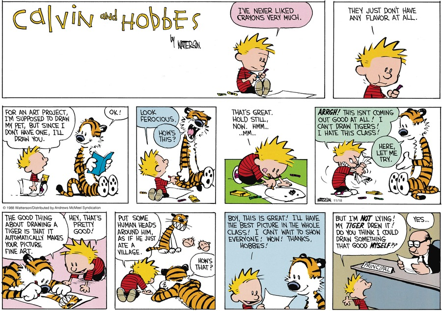 Calvin and Hobbes by Bill Watterson for November 18, 2018