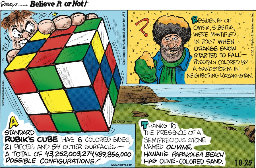 Ripley's Believe It or Not Comic Strip for October 25, 2015