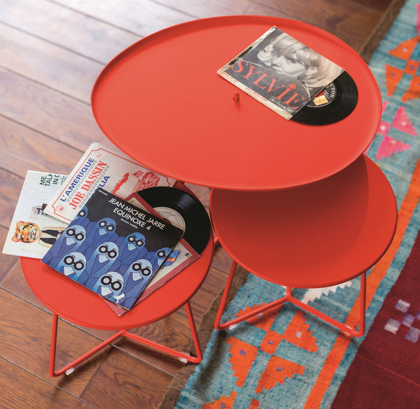 The French brand Fermob is known for its fabulous color palettes. But it's not just color -- the designs are thoughtful and practical. The Cocotte low table and stool from Fermob get points for versatility. The low table has a steel-rod frame and removable aluminum top. The stool also doubles as a table and serving tray.