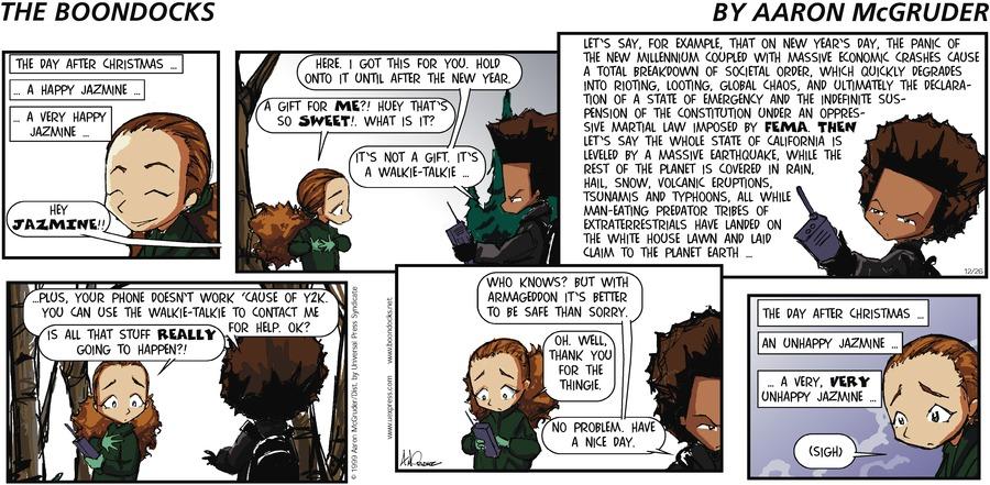 The Boondocks Comic Strip for December 26, 1999