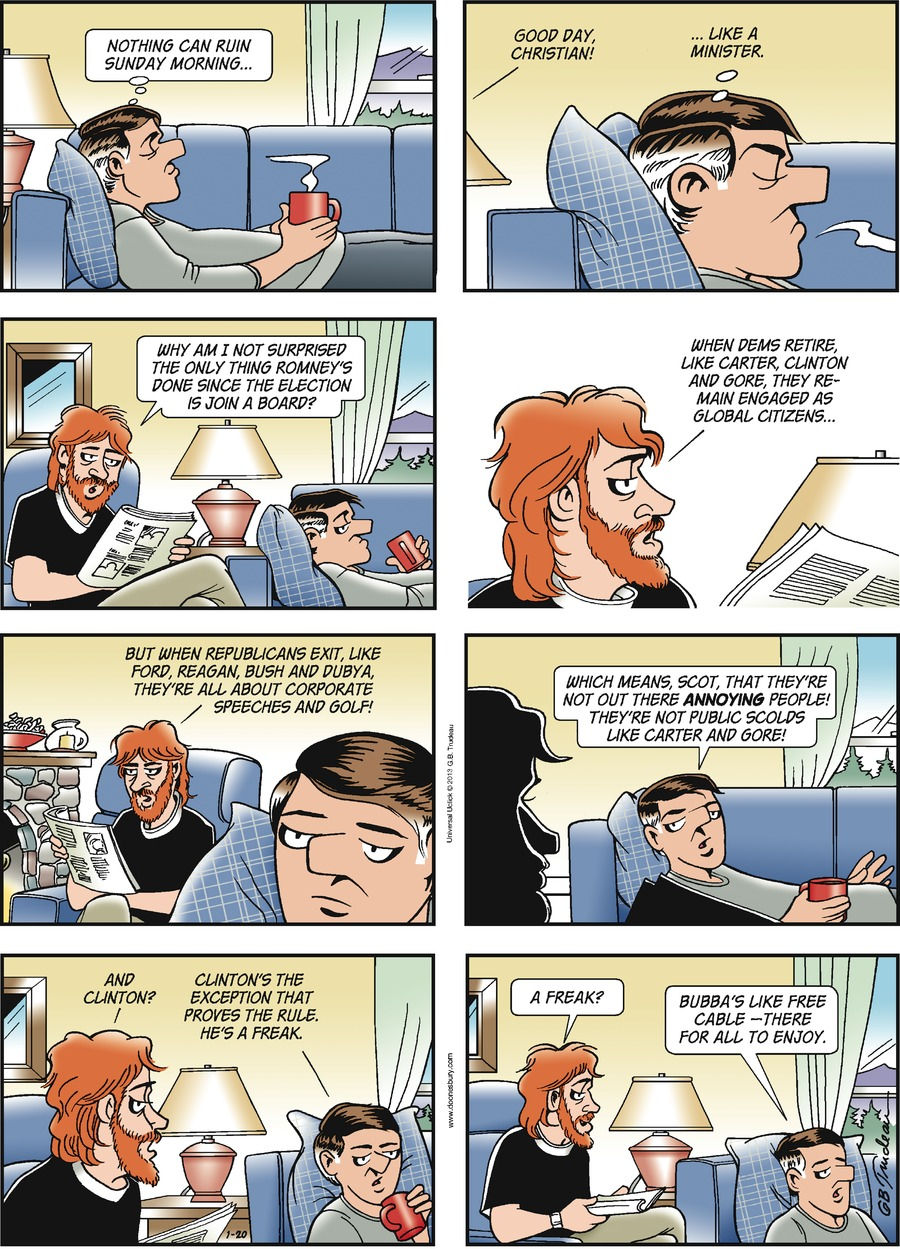 Doonesbury Comic Strip for January 20, 2013